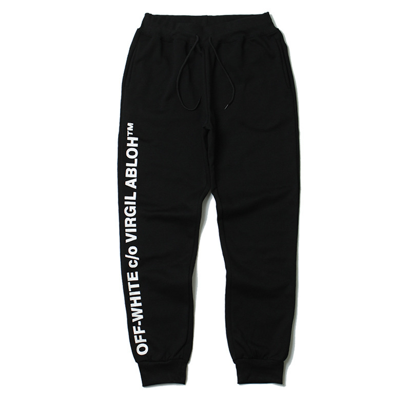 Europe And America Popular Brand Off White Men And Women Plus Velvet Beam Leg Trousers Ow Arrowhead Athletic Pants Casual Couple