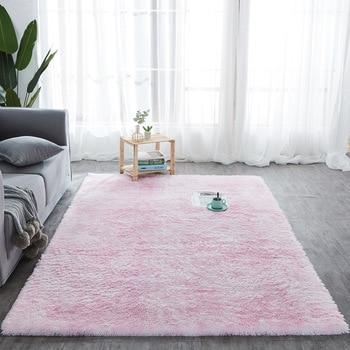 Alfombra nórdica de algodón suave para teñir, tapis salon, rosa y gris,...