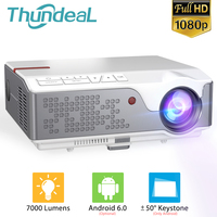 ThundeaL Full HD 1080P TD96 Android WiFi Mini Proyector portátil de LED nativa de 1920x1080P 3D Cine en Casa Compatible con PS4 PC a través de HDMI VGA AV y USB