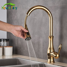 Golden Kitchen Faucets Pull Out Mixer Sink Tap 360 Rotation Single Handle Water 2-way Sprayer Mixer Tap