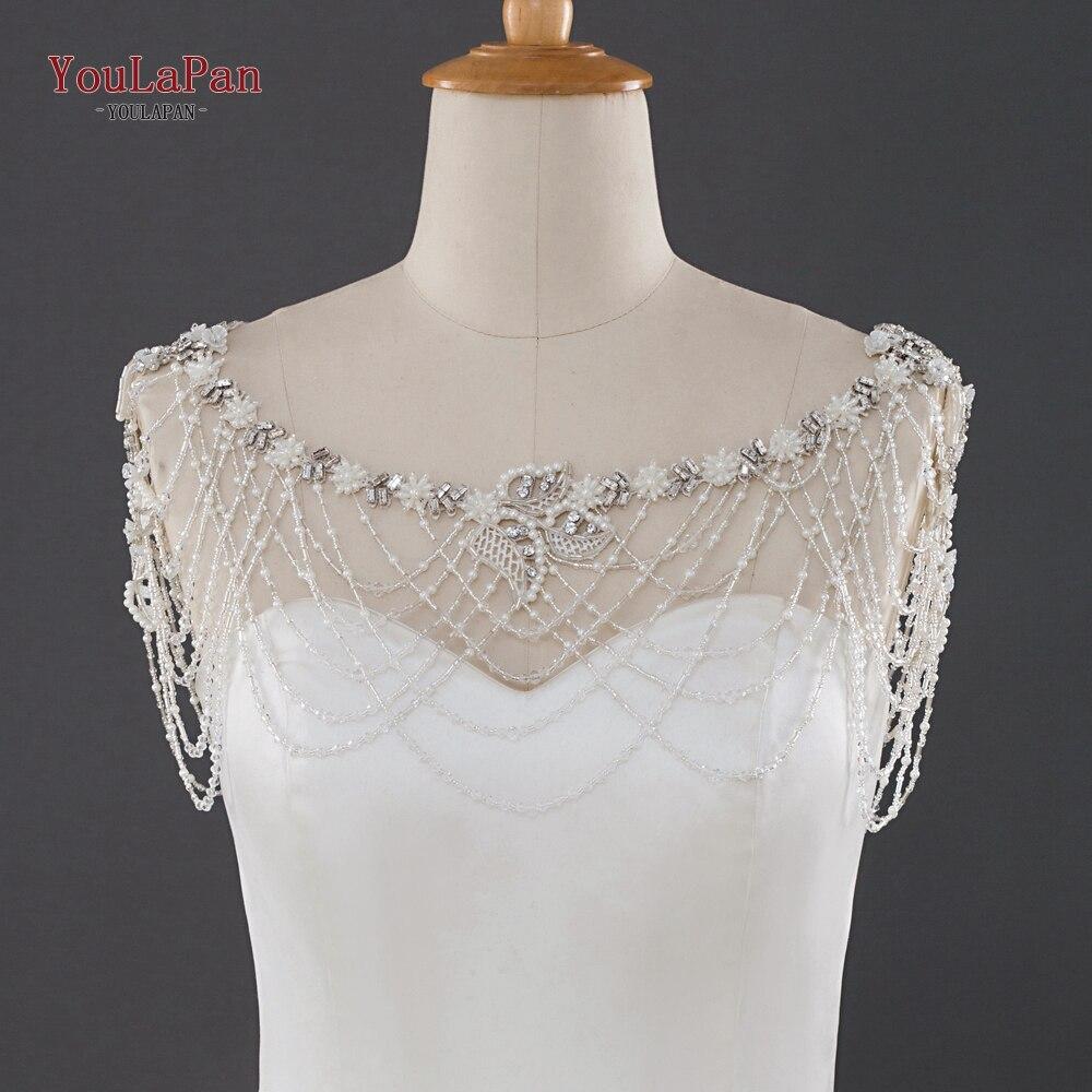 YouLaPan G13 Promotion Crystal Jewelry Lace Ivory Wedding Shawl Jacket Bolero Jacket Beaded Bridal Bridal Wraps