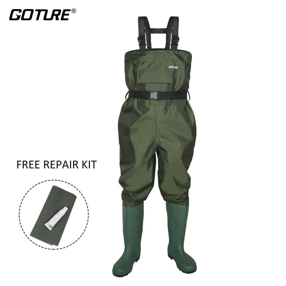 Goture Outdoor Kids Fly Fishing Waders Boot 100% Waterproof Hunting Wader Fishing Overall Boots Breathable Waders Fishing Tackle