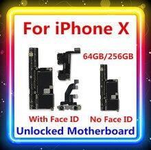 لوحة أم لهاتف IPhone X مع/بدون معرف للوجه 100% لوحة رئيسية خالية من التنظيف تم تحديثها بنظام IOS وظيفة 64G / 256G عمل جيد
