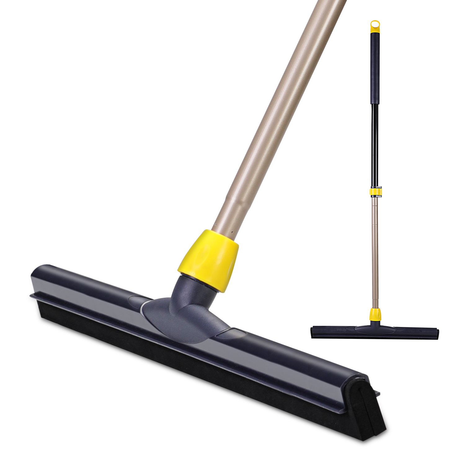 Yocada Floor Squeegee Scrubber 54in Long Adjustable Telescopic Heavy Duty Household Broom for Glass Tile Water Foam Cleaning