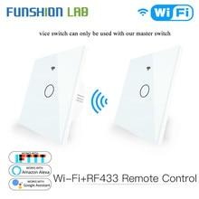 Умный сенсорный выключатель со стеклянной панелью Wi Fi RF433 передатчик настенная панель 1/2/3 кнопочный выключатель дистанционного управления работает с Alexa Google Home