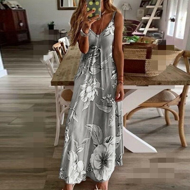 Женское летнее длинное платье, Новое сексуальное пляжное платье макси без рукавов с v-образным вырезом, женское свободное платье на бретель...