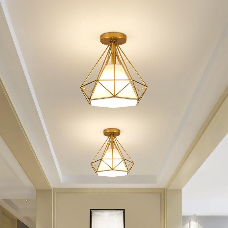 Modern Vintage Metal Ceiling Lights Balcony Corridor Entrance Lustre Golden Black Round Iron Cage LED E27 Ceiling Lamp