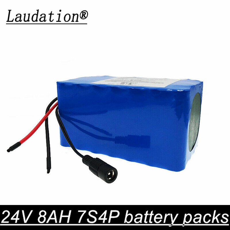 laudation 24V 8ah 7S4P 29.4V electric bicycle lithium battery18650 battery pack for 250W 350W motorcycle