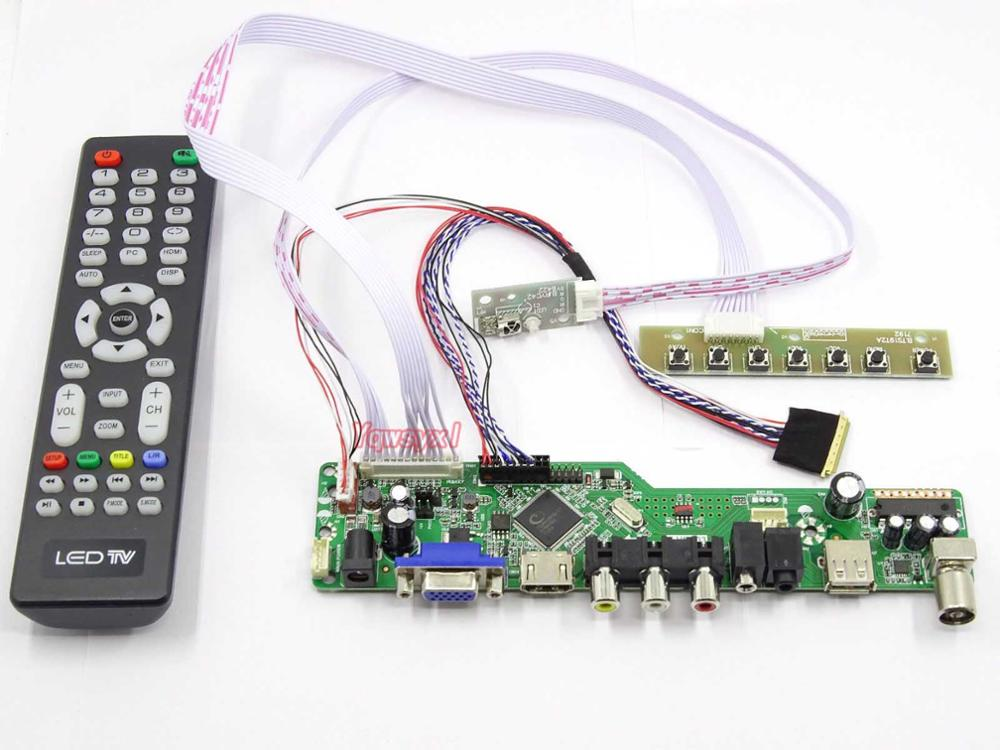 Yqwsyxl Kit For HB140WX1-100  TV+HDMI+VGA+AV+USB LCD LED Screen Controller Driver Board