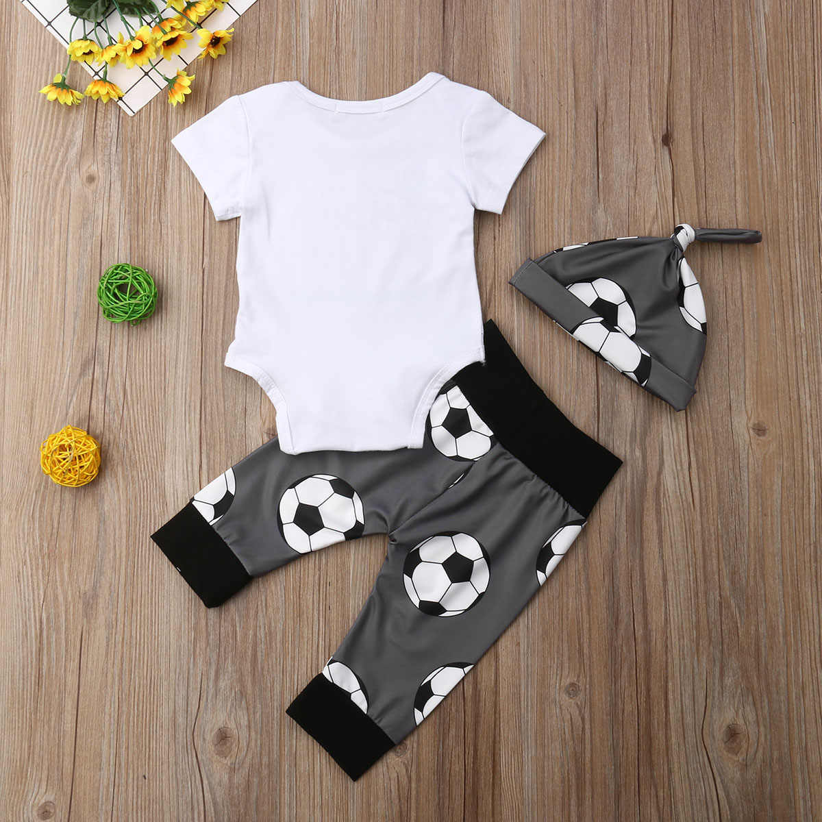 ¡Novedad de 2019! Gran oferta, pelota de fútbol, ropa de 3 uds. Para bebés recién nacidos, mono Casual, pantalones, gorro, conjunto de ropa