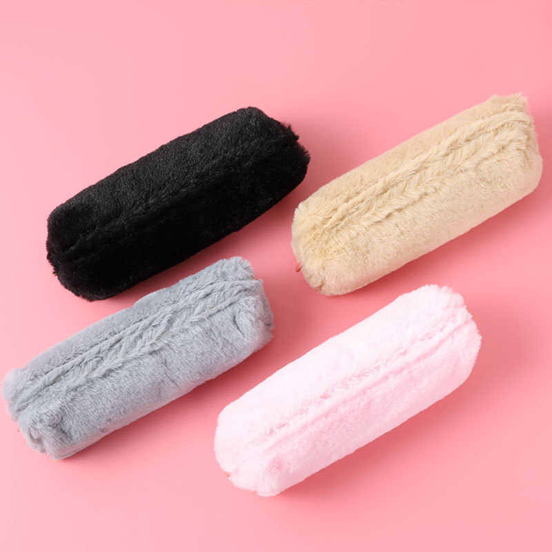 Jolie trousse en peluche de couleur unie pour filles école papeterie stylo sac Kawaii étudiant trousse à crayons cadeaux fournitures