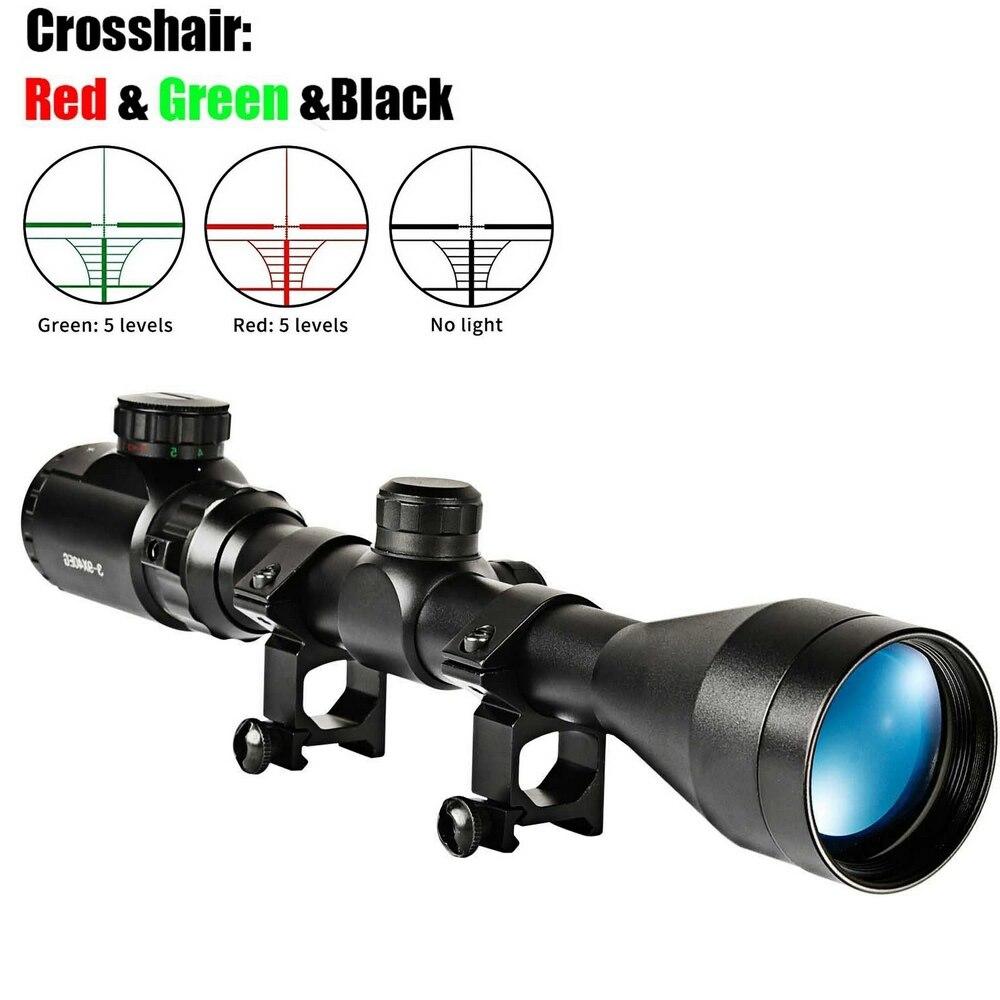 3-9x40EG optik avcılık tüfek kapsam kırmızı/yeşil işıklı tüfek havalı tüfek optik avcılık Sniper kapsamları Sight W/çift 21