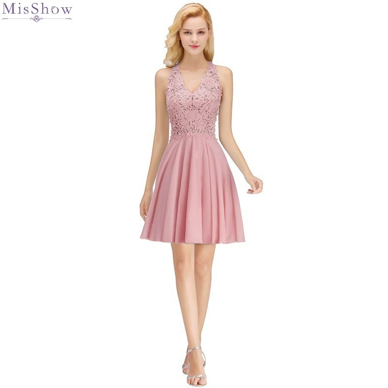 Pink Chiffon Evening Dress 2020 Elegant Short Formal Gown Sexy V Neck Sleeveless Applique Robe De Soiree