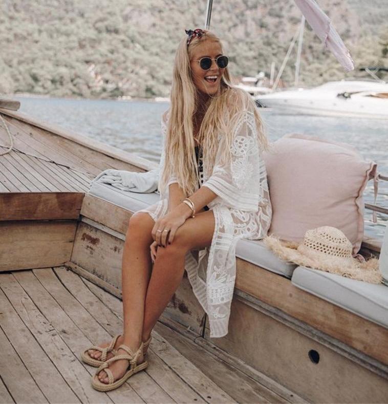 New Style Europe And America Mesh Embroidery Holiday-Cardigan Beach Skirt Seaside Sun Shirt Bikini Outer Blouse