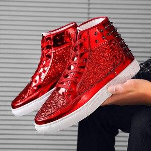Image 5 - 세련된 하이 탑 남성용 및 여성용 운동화 편안하고 빠른 건조 통기성 숙녀 가황 처리 된 신발 Zapatos De Hombre