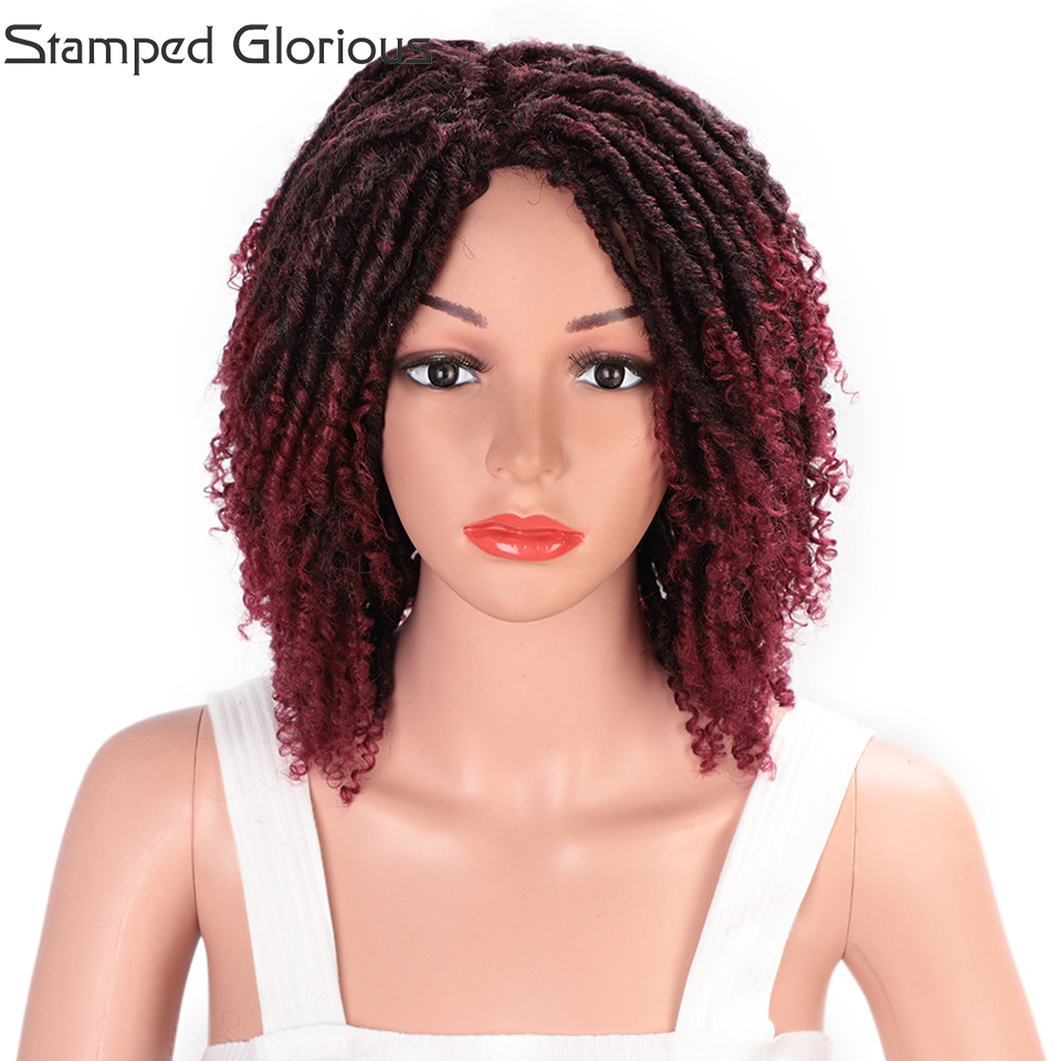 Stamped Glorious Dark Red 14inchs Curly Wigs For Black Women Synthetic Wigs African Hairstyle Cosplay Wig