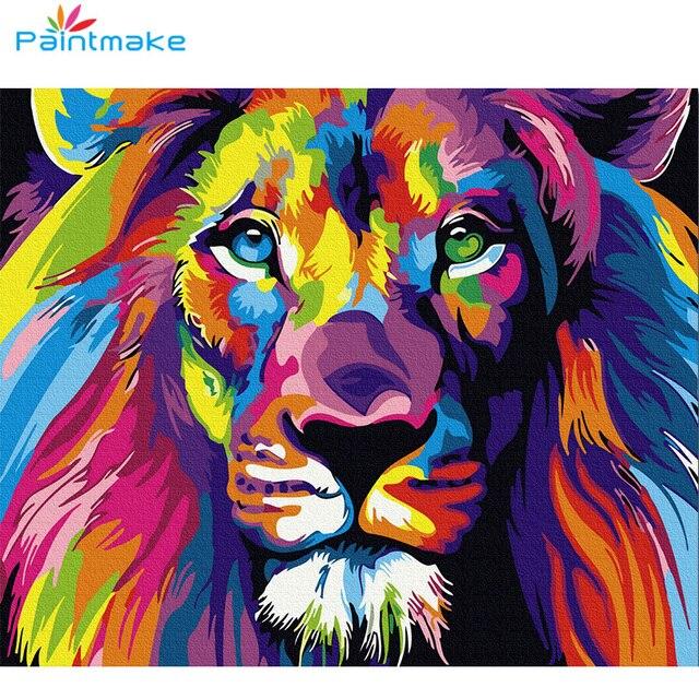 Paintmake peinture pour travaux manuels par numéros pas de cadre coloré animal peinture à lhuile sur toile tigre pour la maison chambre décor mur Art photo cadeau