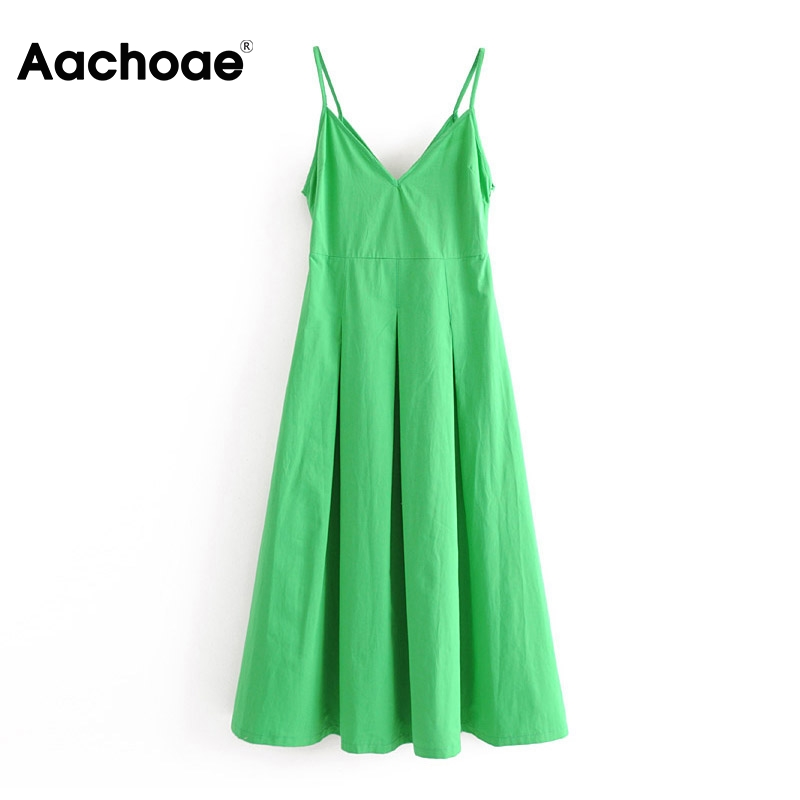 Aachoae Sexy Spaghetti Strap Deep V Neck Party Dress Solid Backless Pleated Midi Dresses Side Zipper Green Beach Dress Summer