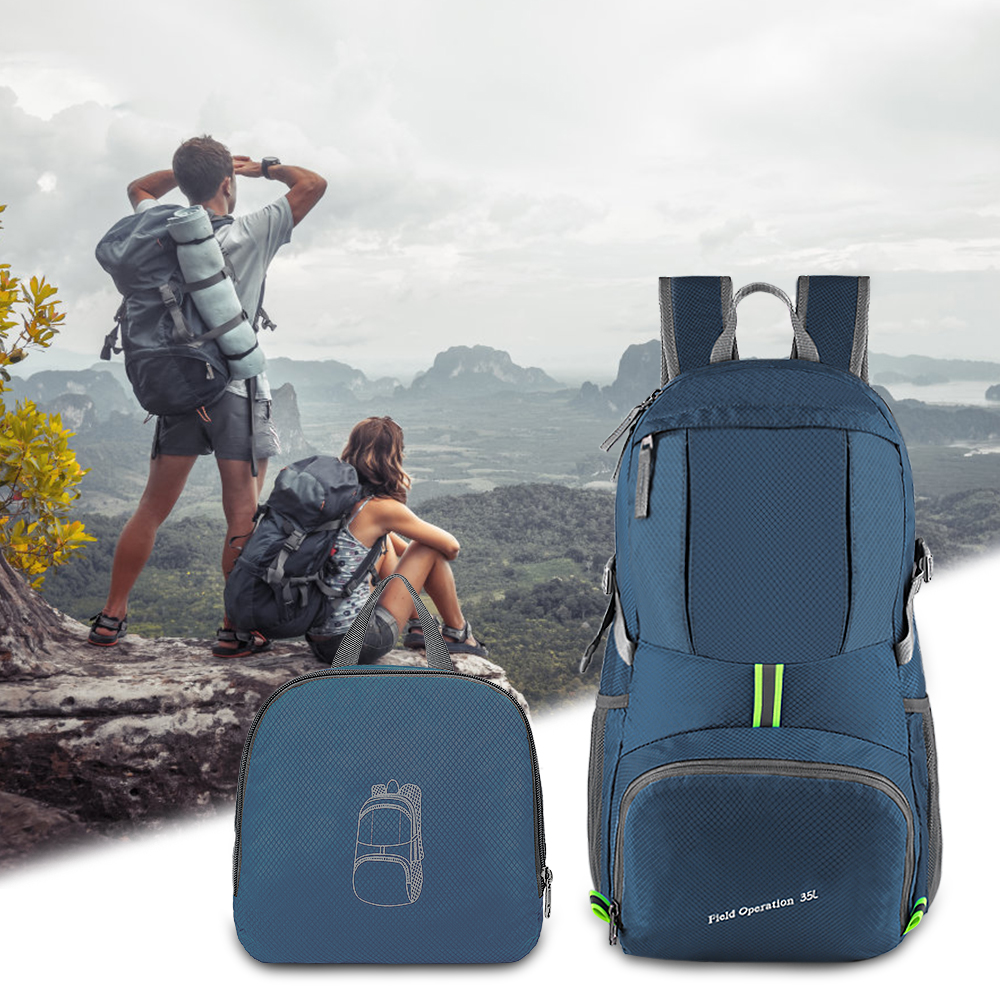 <font><b>35L</b></font> Outdoor Foldable Waterproof <font><b>Backpack</b></font> Lightweight Portable Daypack Rucksack Large Hunting Camping Traveling Hiking <font><b>Backpacks</b></font> image