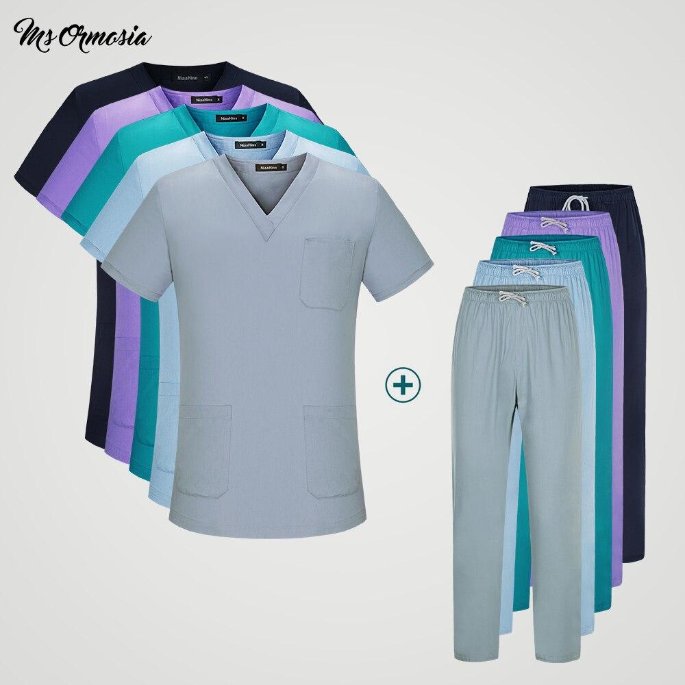 Unisex Short-sleeved Surgical Clothing Men And Women Doctors Suits Split Brush Uniform Multiple Colour Suit Pharmacist Work Sets