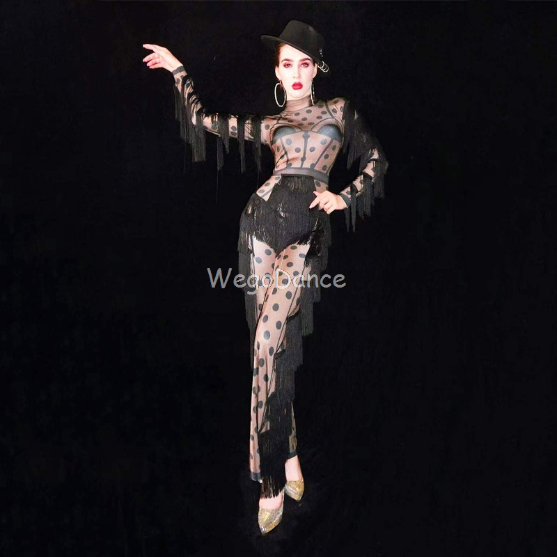 New Women Black Tassel Nude Dot Fringe Jumpsuit Birthday Prom Big Leggings Outfit Bar Women Singer Dance Stage Clothes image