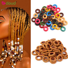 100pcs Wooden Dreadlock Bead 7mm Big Hole Mix Color Crochet Braid Dread Tube Ring Cuffs Clip For Braiding Hair Extension Jewelry