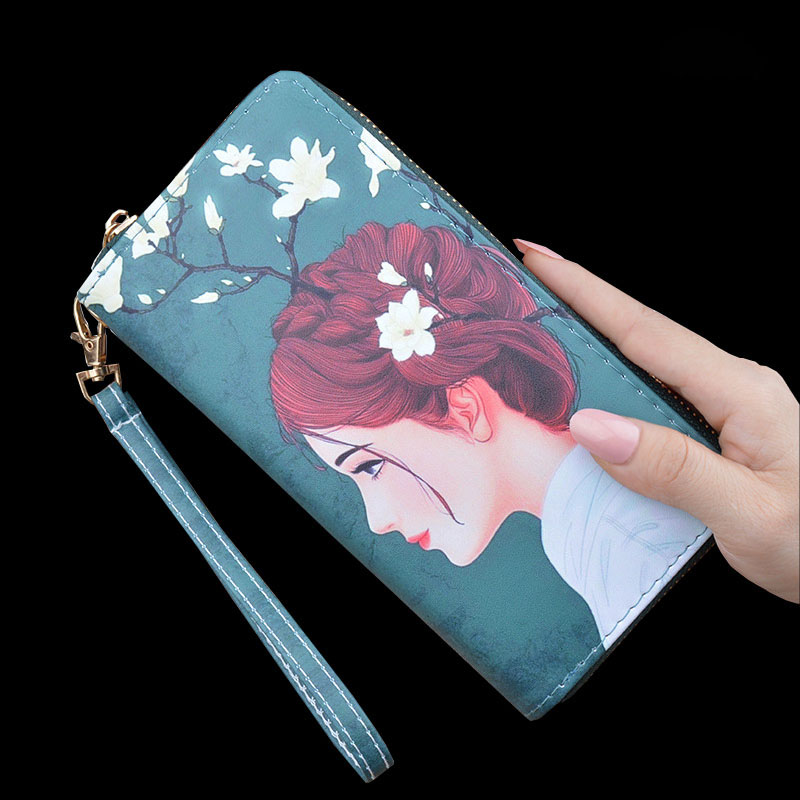 2020 Women's Wallet Fashion Leather luxury wallet Personality printing Long Zipper Wallet Female Card wallet portfel damski