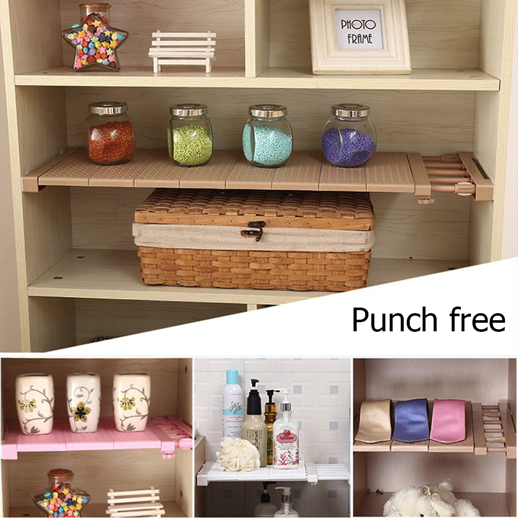 New Closet Organizer Adjustable Storage Shelf Wall Mounted Kitchen Rack Space Saving Wardrobe Decorative Shelves Cabinet Holders