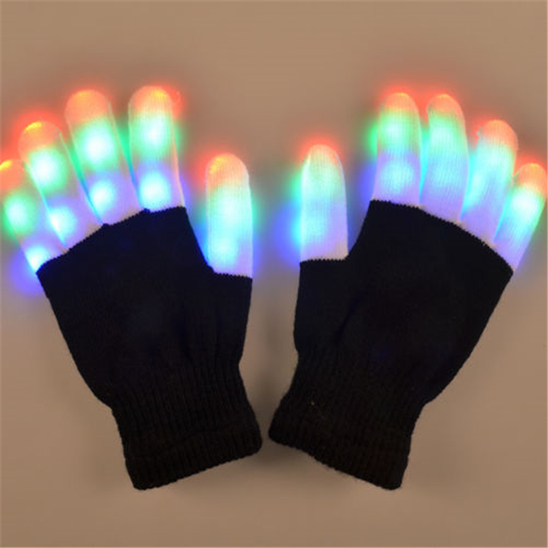Hirigin New Arrival Light-Up Toys LED Rave Flashing Glove Glow 7 Mode Light Up Finger Tip Lighting Pair Black VD Hot Fashion
