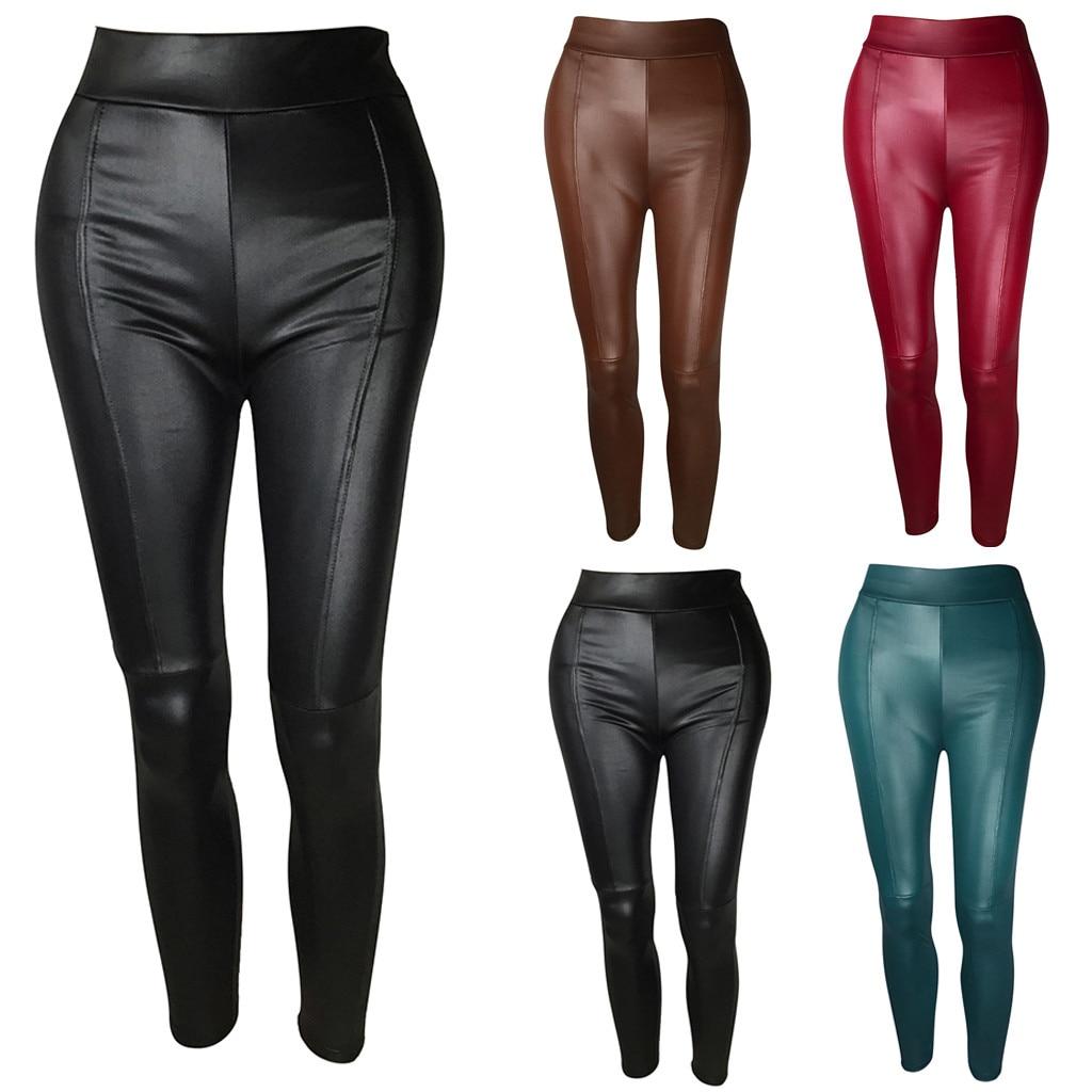 Fashion Leggings Women Solid Splice Casual Trousers Sexy Leather Leggings Pants Leggins Mujer Women's Warm Leggings