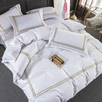 35 White Cotton Luxury Hotel/home Bedding Set King Queen Size Bed Set Bedsheets Linen Set Embroidery Duvet Cover Pillowcase