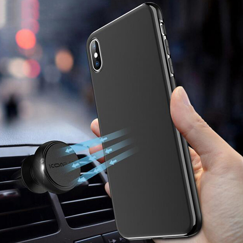 Ultra Thin Magnetic Car Phone Case for iPhone X XS XR 11 11PRO 6 7 8 Invisible Built in Magnet Plate Soft TPU Shockproof Cover