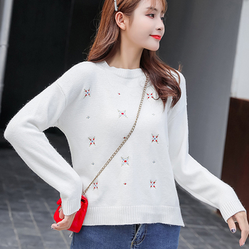 knit sweater Women Autumn New Korean Sweater Women's Loose Fashion Pullover sweater Long-Sleeved Bottoming knitted sweater 24J sweater