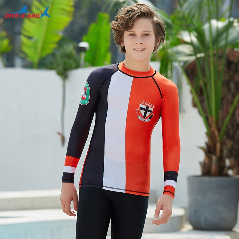 Summer New Style KID'S Swimwear Sun-resistant Teenager Beach Diving Suit Long Sleeve Students Snorkeling Drifting Quick-Dry Swim