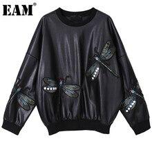 [Eam] ルーズ刺繍puレザートレーナー新ラウンドネック長袖女性ビッグサイズファッション潮秋冬2021 1DD1865
