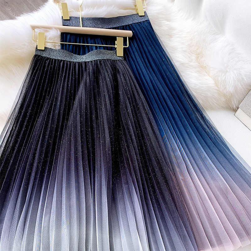 2020 Spring Tulle Fairy Skirt Women High Waist Pleated Long Skirts Female Slim Sweet Contrast Color A-line Skirt