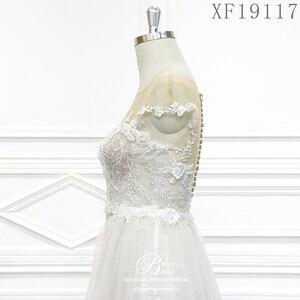Image 4 - فساتين زفاف 2020 مصنوعة حسب الطلب Vestido De Noiva الأميرة خمر زينة مطرز الدانتيل الزفاف حجم كبير XF19117