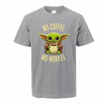The Mandalorian Baby Yoda T Shirt For Men 2020 Summer Cotton Cute Young Yoda No Coffee No Workee Short Sleeve Tee Cool Male Tops 2