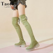 Taoffen Women High Quality Winter Over Knee Boots Thick Sole Platform Rivet Comfortable Stretch Boots Footwear Botas Size 34-39(China)