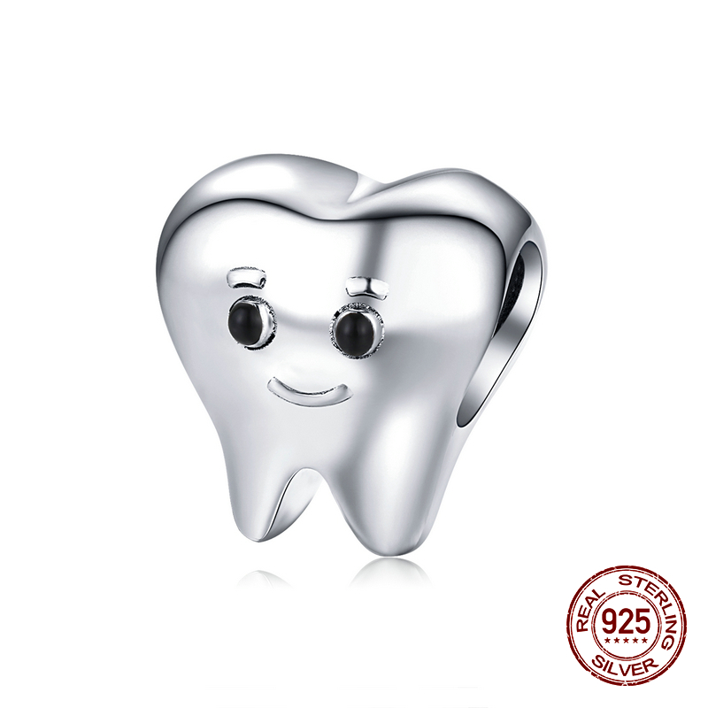New genuine 925 sterling silver tooth charm fit original bracelet Pandora beads for women fashion jewelry DIY birthday gift(China)