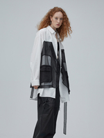 IRINACH190 2020SS NEW COLLECTION silk patchwork white cotton shirt women
