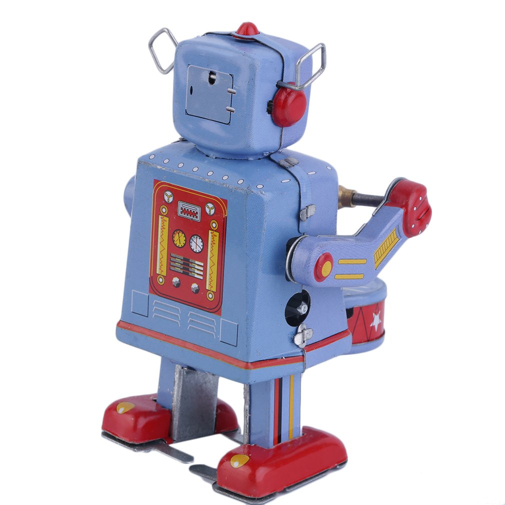 Hot! 3pcs Vintage Metal Tin Drumming Robot Clockwork Wind Up Tin Toy Collectible New Sale