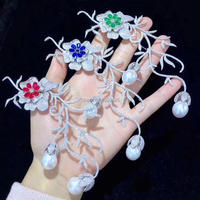 wow! red/green/blue zircon flower white freshwater pearl brooch nature wholesale FPPJ for xms gift