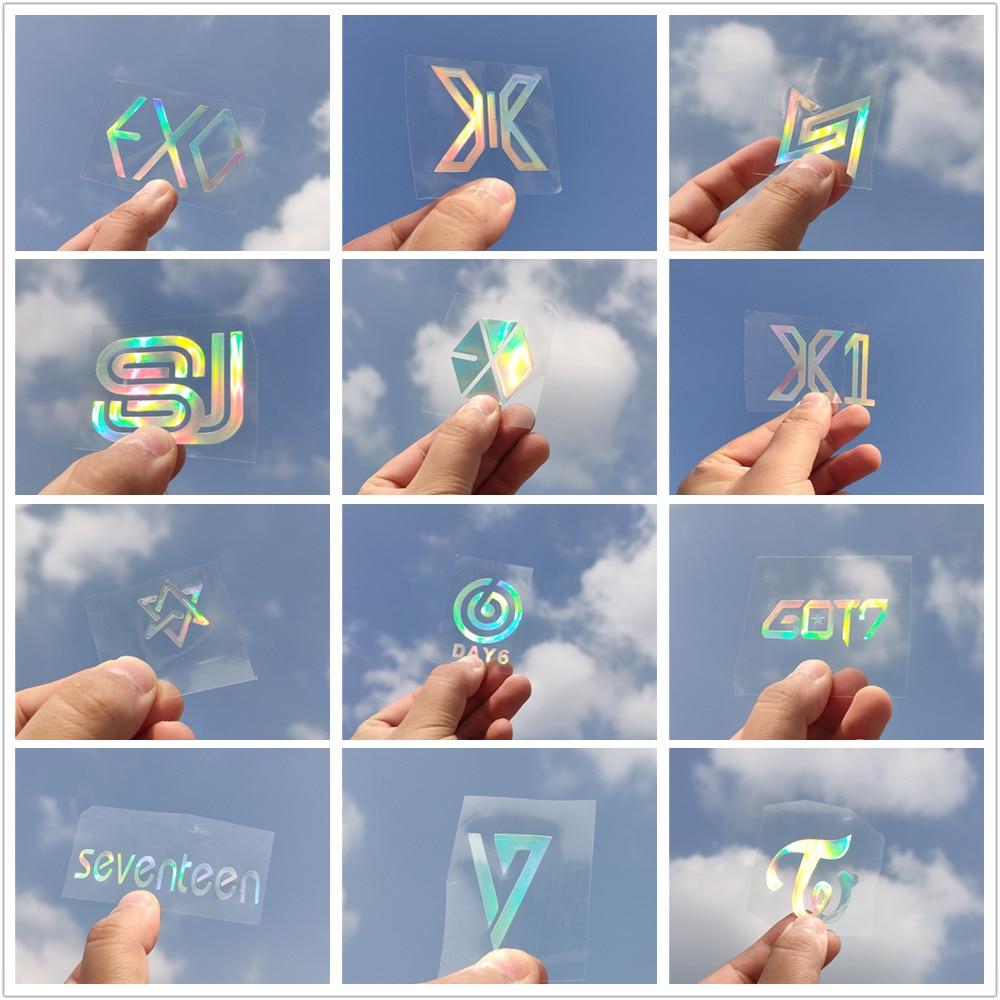 KPOP EXO NCT SEVENTEEN DAY6 TWICE IKON X1 Laser Sticker DIY Mobile Cup Lightstick Transfer Stickers