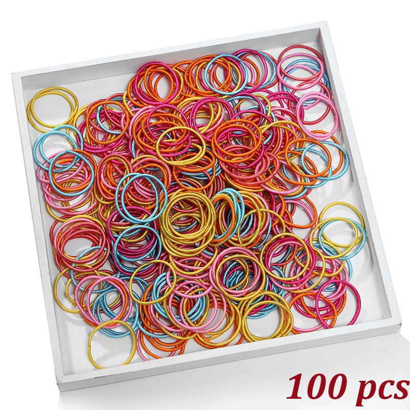 100 יח'\סט תיק ארוז בנות חמוד צבעוני שיער אלסטי להקות מסטיק עבור קוקו מחזיק גומיית סרט אופנה אביזרי שיער