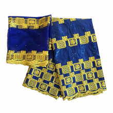 Blue bazin brode getzner 2019 latest african fabric bazin riche getzner embroidered african tissu with stones(China)