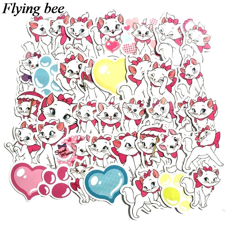 38 Flyingbee 38 יח מארי חתול kawaii אופנה מדבקה מדבקות Pvc רעיונות מדבקה עבור מחברת טלפון נייד DIY אביזרי X0712 (2)