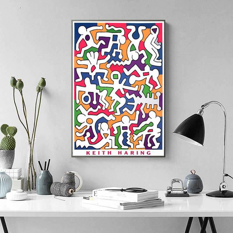 JEfunv HD-Druck Gem/älde Wandkunst Keith Haring Original Leinwand Aquarell Poster Home Decor Modulare Bilder f/ür Schlafzimmer 60X80cm 24x32 Zoll ohne Rahmen
