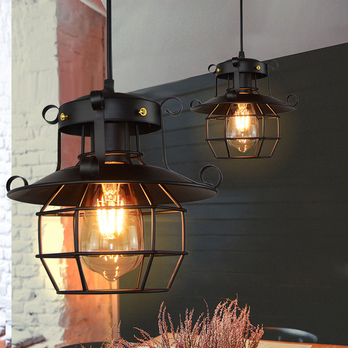 Vintage Pendant light Metal Industrial lamp Ceiling light Chandelier Fixtures Cage Edison Nordic Retro Loft Lamp Home Decoration