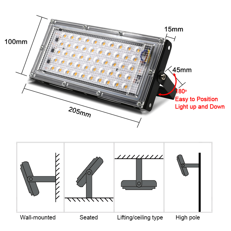 LED Grow Light Full Spectrum 50W AC 220V Phyto Lamp For Plants Tent Flower Seeding Lamp Indoor Outdoor Led Floodlight Grow Box 2